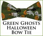 KocoKookie Bow Tie - Halloween Green Ghosts