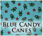 KocoKookie Christmas Bandanas - Blue Candy Canes And Stars