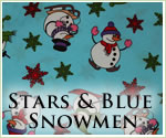 KocoKookie Christmas Bandanas - Blue Snowmen And Stars