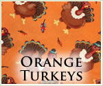 KocoKookie Thanksgiving Bandanas - Orange Turkeys