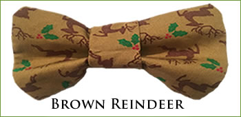 KocoKookie Bow Tie - Christmas Brown Reindeer