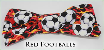KocoKookie Bow Tie - Red Footballs