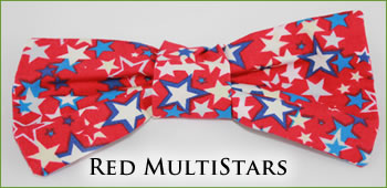 KocoKookie Bow Tie - Red Multi-Stars