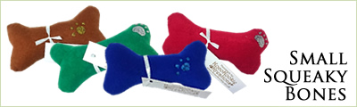 Take a look at our range of Small Squeaky Bones Dog Toys in a fantastic range of materials and colours!